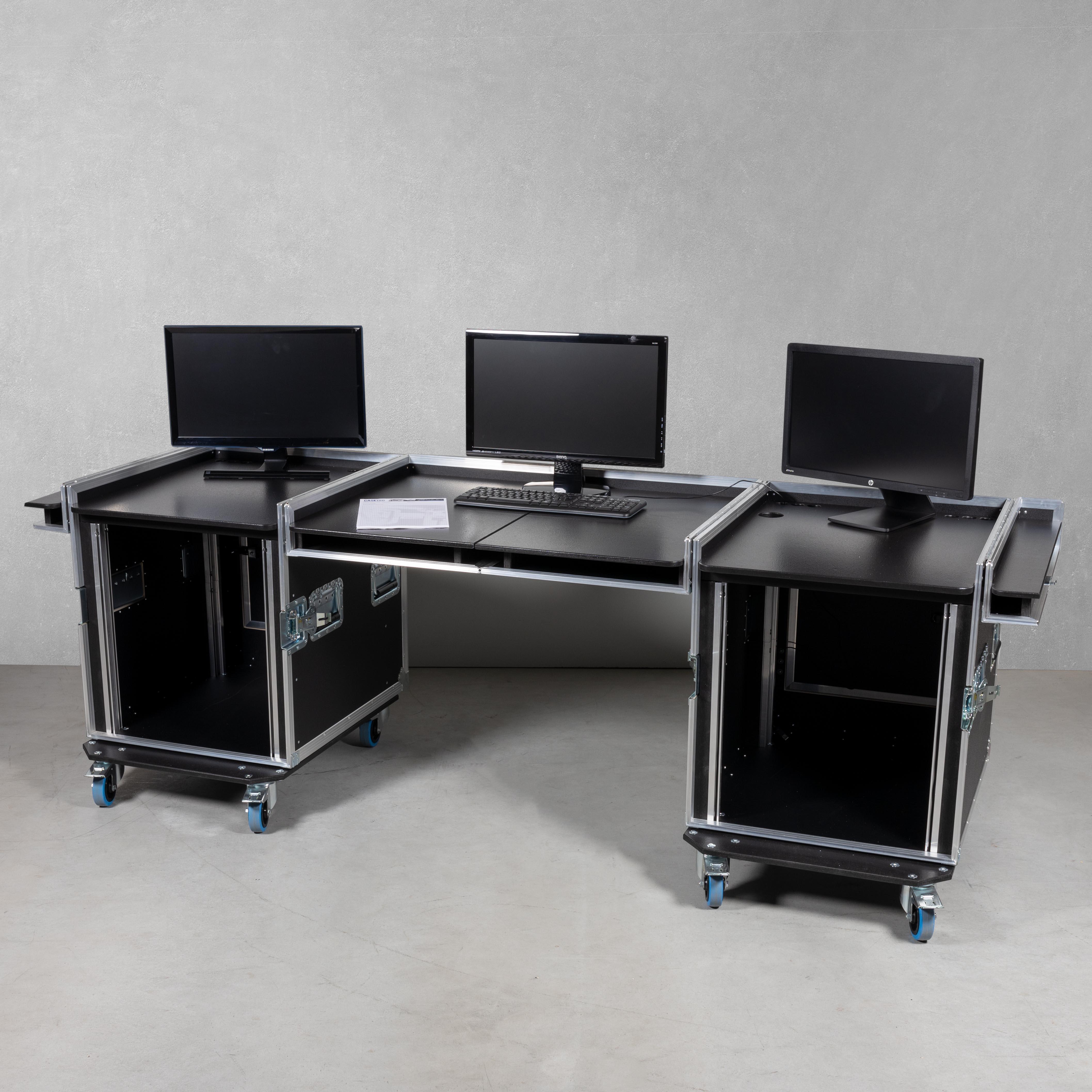 """Office Case/Mobile Regie 19"""" 12HE ohne Schubladen (linke + rechte Seite)"""