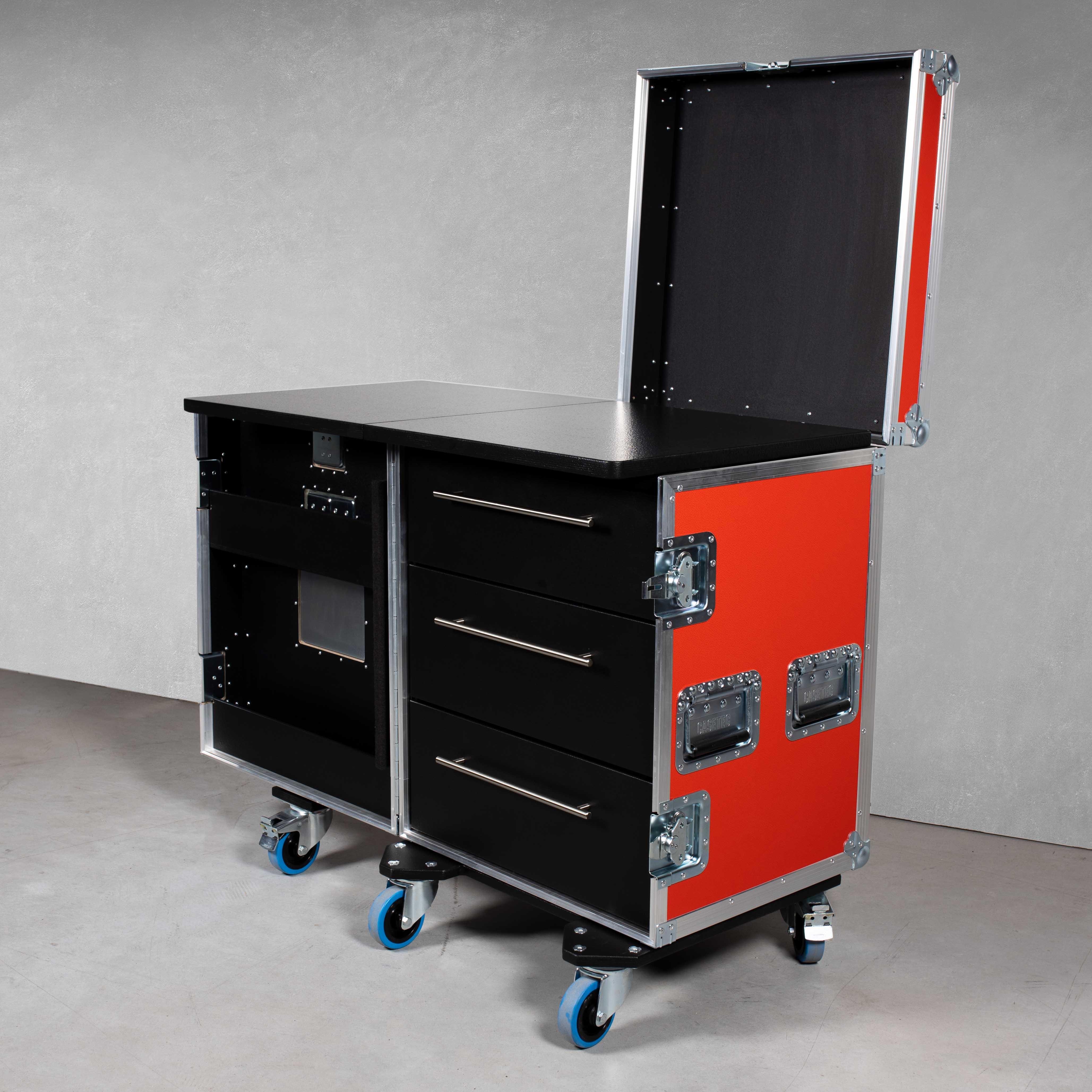 Schubladencase 90er Profi (mit klappbarer Arbeitsfläche) mit 3 Schubladen