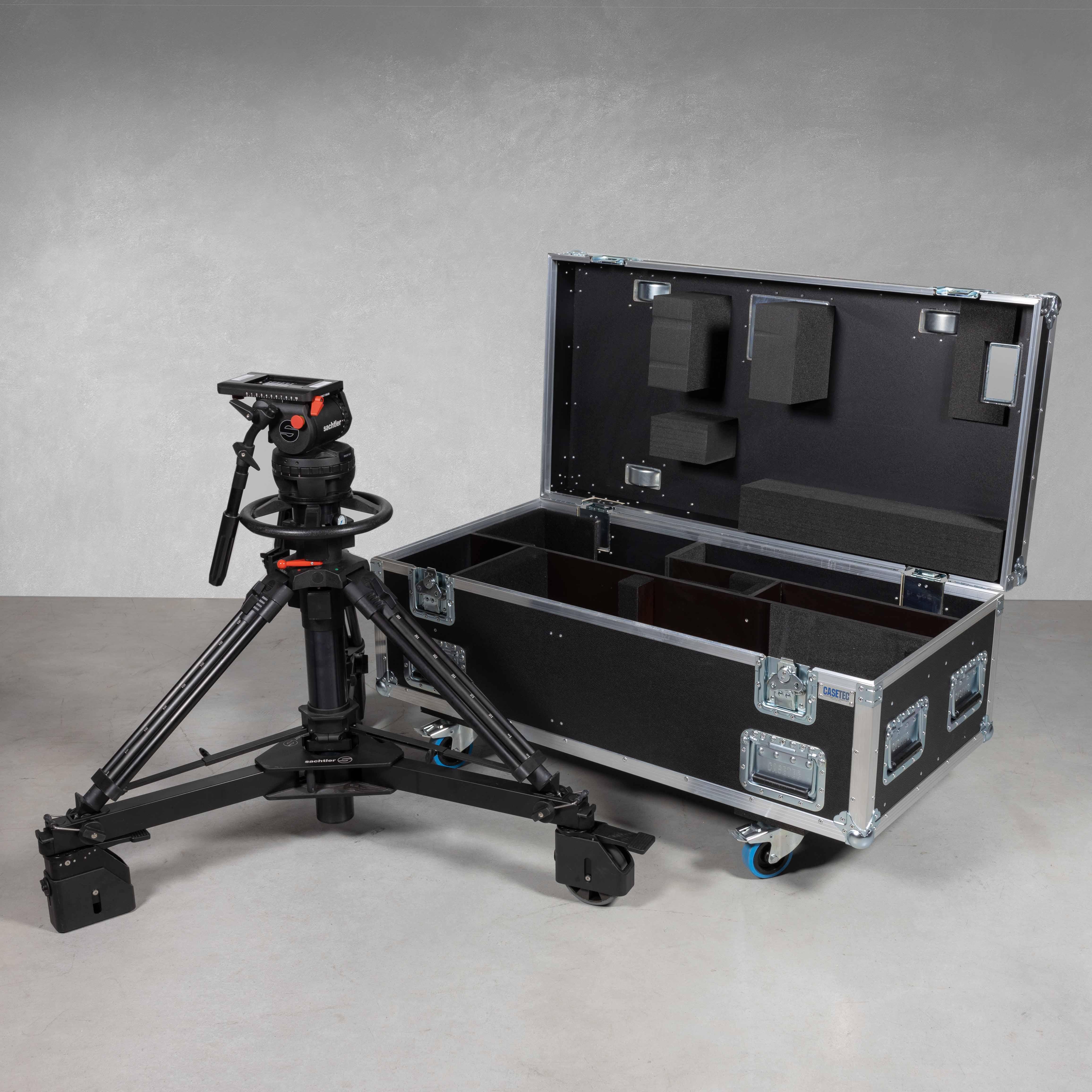 Flightcase für 1x Sachtler System 25 C III Stativ mit mont. Kopf Video 25 Plus FB + Rollspinne Sachtler Dolly XL und Pumpe