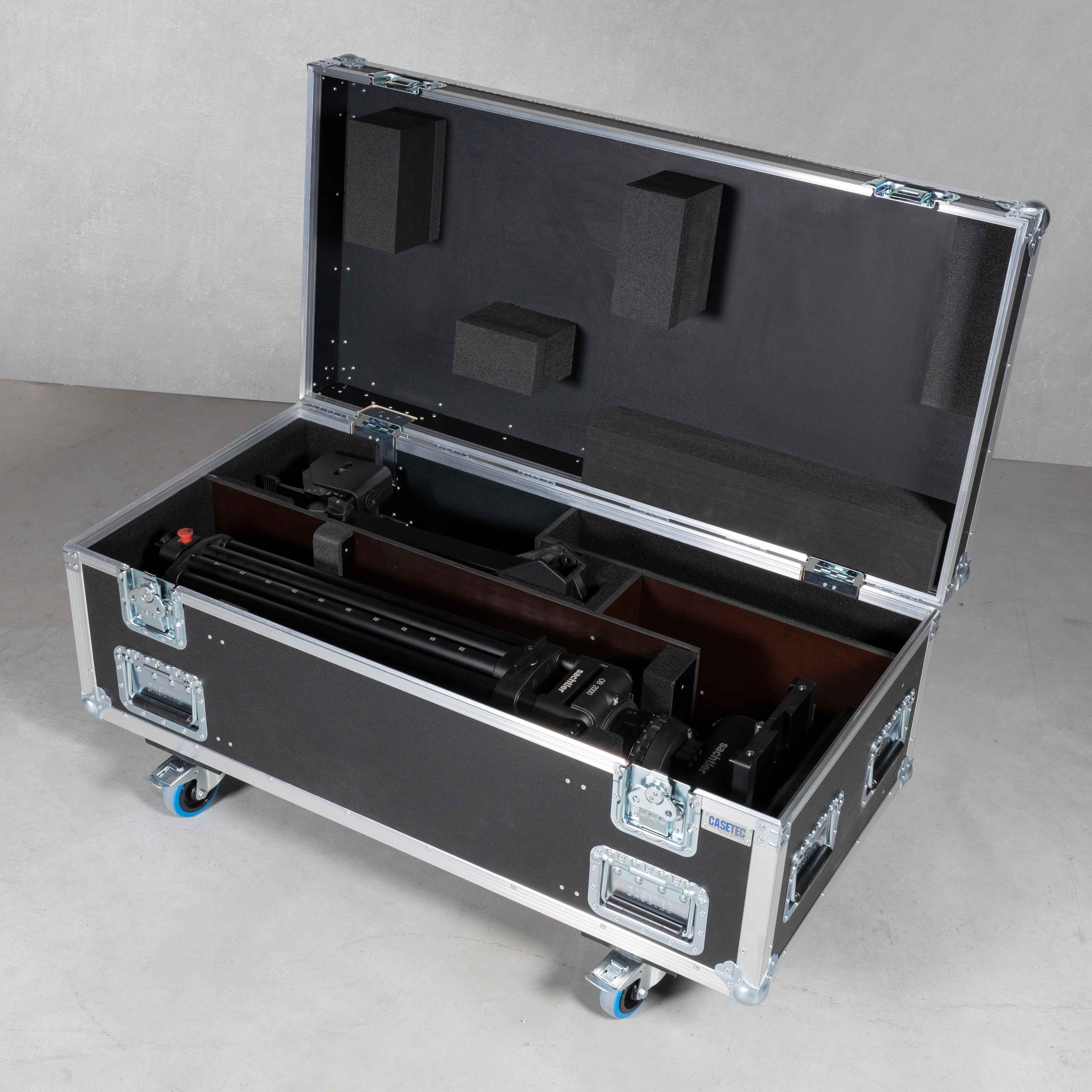 Flightcase für 1x Sachtler OB2000 Stativ mit mont. Kopf Video 90 + Rollspinne Sachtler XL