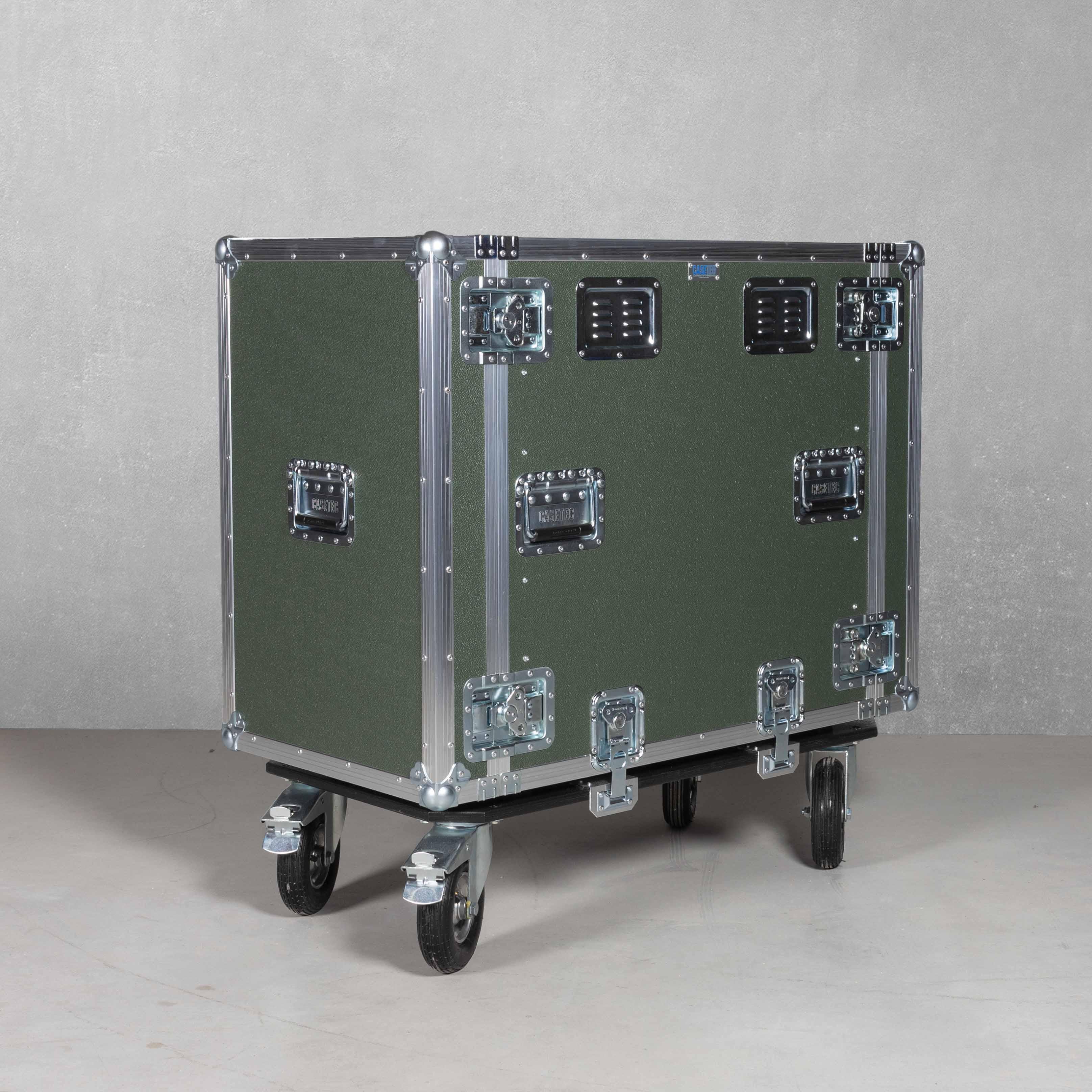 19 Zoll Schwingungsrack 16HE mit Luftreifen und abnehmbarem Rollbrett