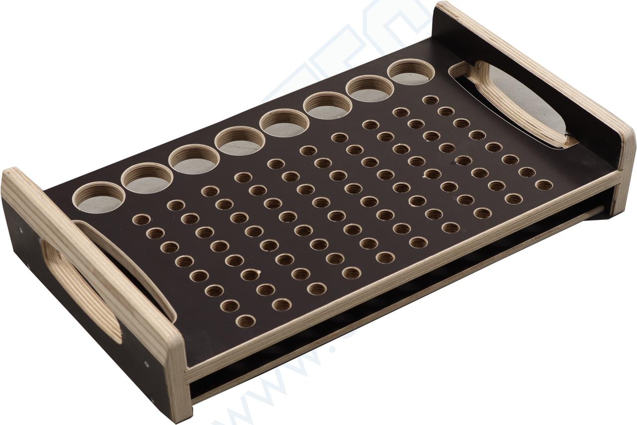 Holzlade für 80x Bolzen und 8 Konusverbindern