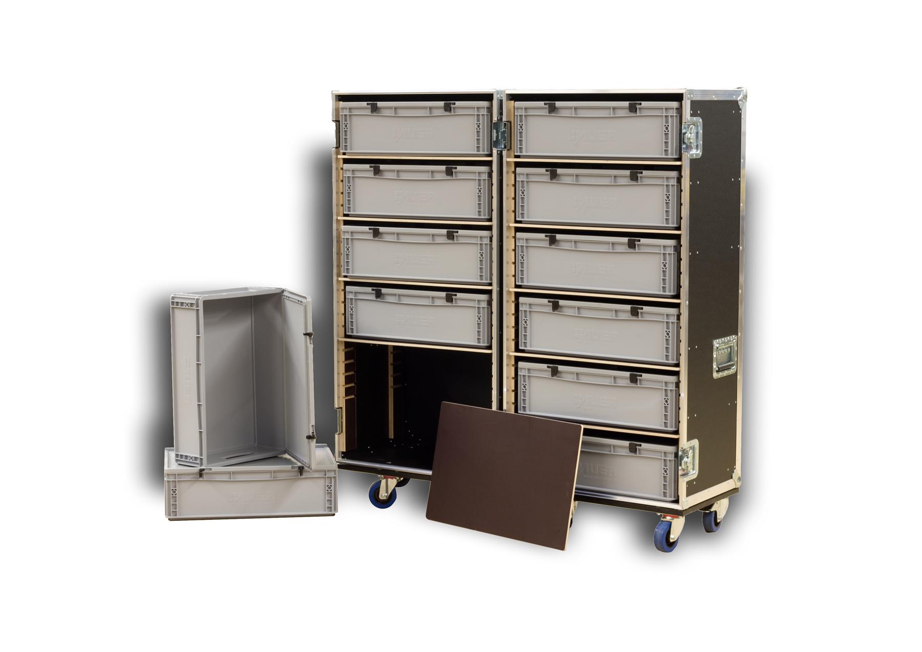 Schrankcase für 12 Stück Euroboxen (Kunststoffboxen)