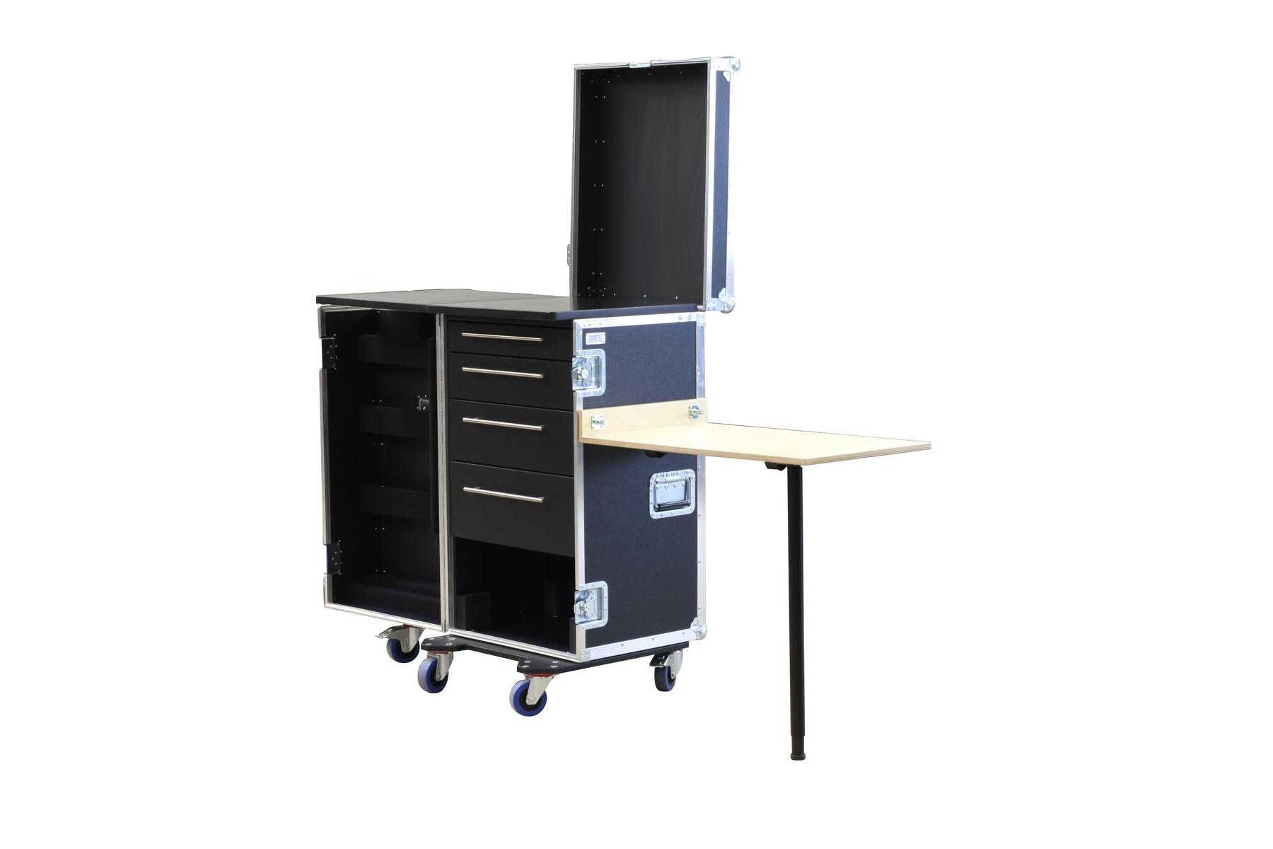 Schubladencase 120er Profi mit vier Schubladen, ein Leerfach+ Arbeitsfläche